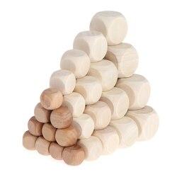 10 pçs 6 face dados de madeira em branco festa família diy jogos impressão gravura do miúdo brinquedos multi lados dados para o jogo de tabuleiro