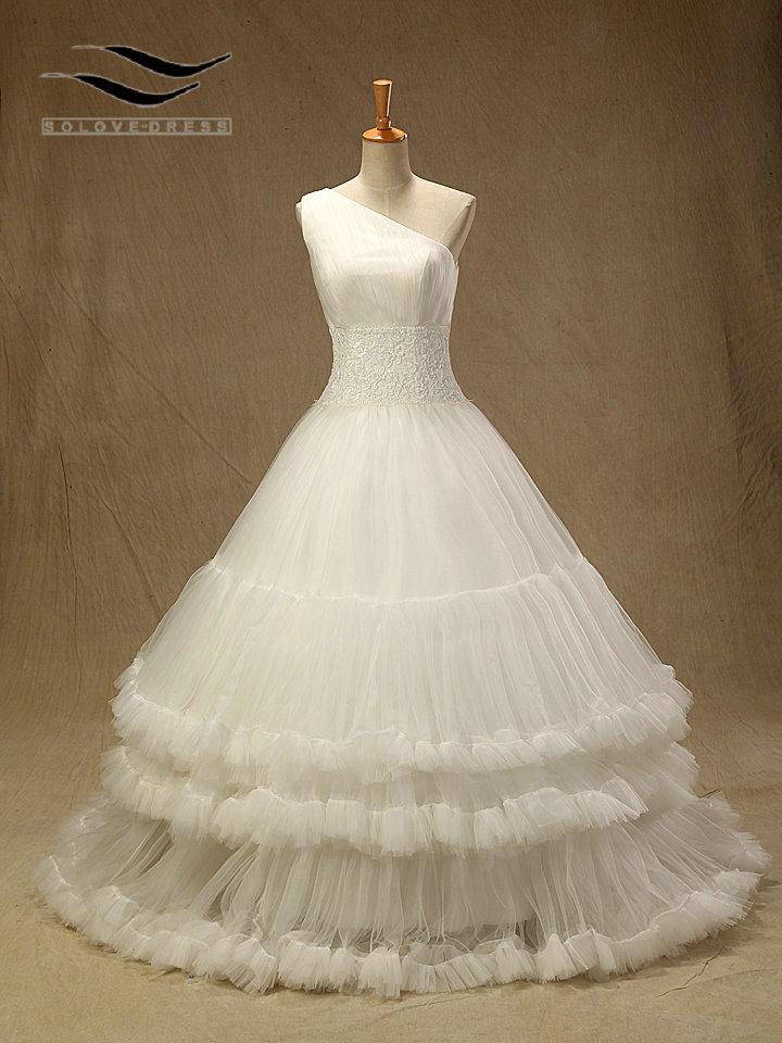 Elegant Vestido De Noiva Tulle Lace Pleat Wedding Dress With One-Shoulder Robe De Mariage Casamento Wedding Gowns With (SL-W241)