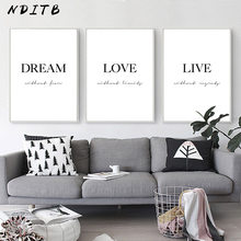 Dream Love Motivational Poster Black White Simple Quotes Canvas Wall Art Print Painting Minimalist Room Decoration Picture(China)