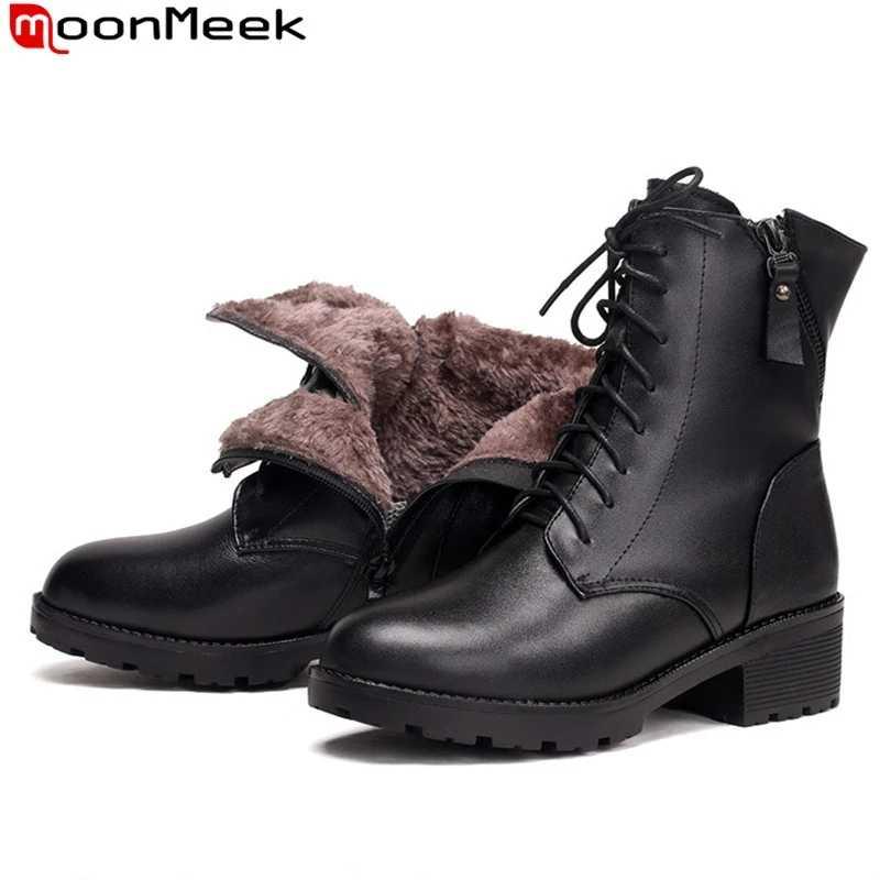 MoonMeek büyük boy 35-43 yeni hakiki deri kış çizmeler kadınlar yuvarlak ayak zip yarım çizmeler sıcak tutmak koyun yünü kar botları 2020