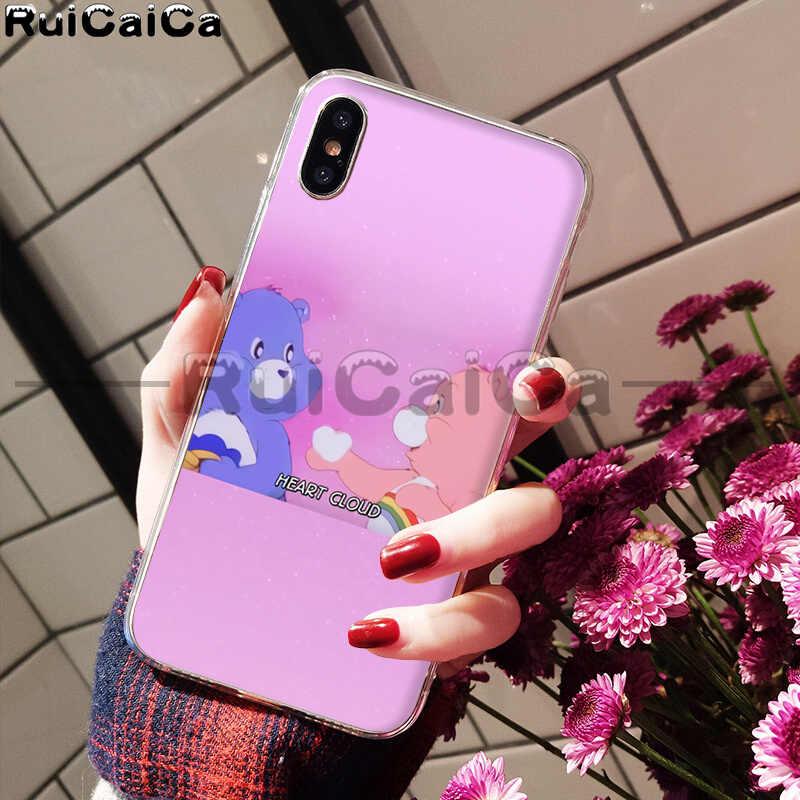 RuiCaiCa rose beaux soins ours arc-en-ciel mignon doux TPU téléphone étui pour iphone 6S 6plus 7 7plus 8 8Plus X Xs MAX 5 5S XR