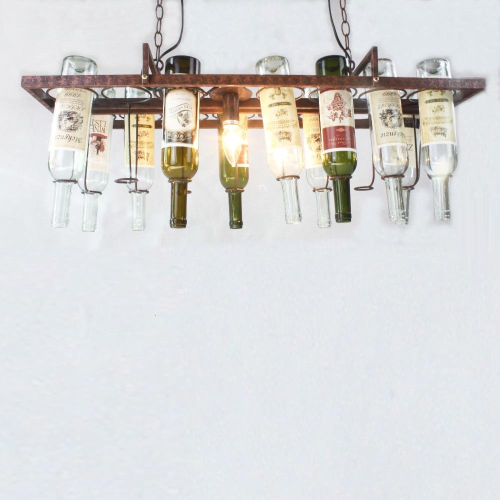 Hd82438e9d7714b62a0fab95d3895b074Y Loft retro Hanging Wine Bottle led ceiling iron Pendant Lamps E27 LED pendant lights for living room bar restaurant Kitchen home