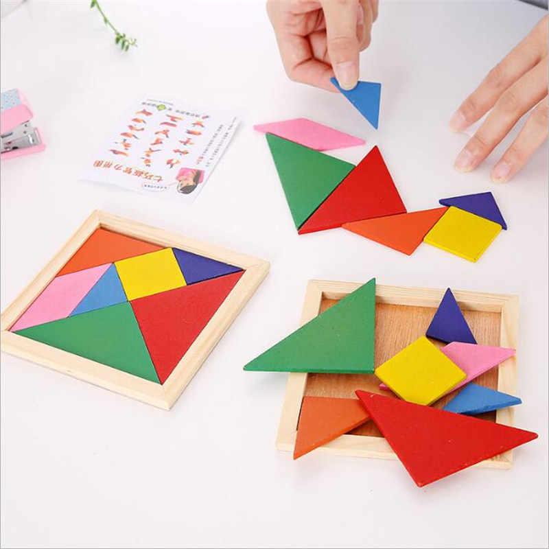 3D de madera Tangram 7 piezas rompecabezas colorido cuadrado IQ juego cerebro Teaser juguetes educativos inteligentes para niños juguetes de niño