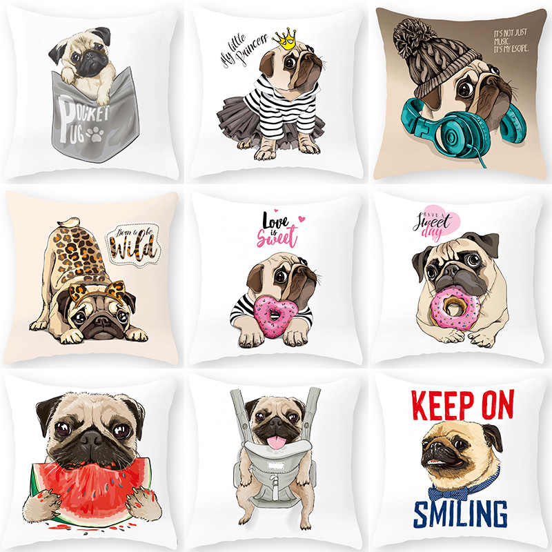 Cartoon Pug Bulldog Sofa Decoratieve Kussenhoes Kussen Kussensloop Polyester 45*45 Sierkussen Home Decor Kussensloop 40599