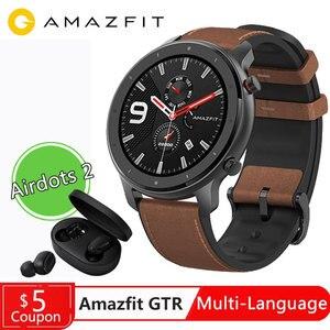 Image 1 - النسخة العالمية Amazfit GTR 47 مللي متر 47 مللي متر ساعة ذكية Huami Smartwatch 12 الرياضية طرق 5ATM للماء GPS 24 أيام البطارية AMOLE