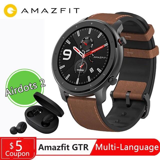 Küresel Sürüm Amazfit GTR 47mm 42mm akıllı saat Xiaomi Huami Smartwatch 12Spor Modları 5ATM Su Geçirmez GPS 24 Gün pil AMOLE