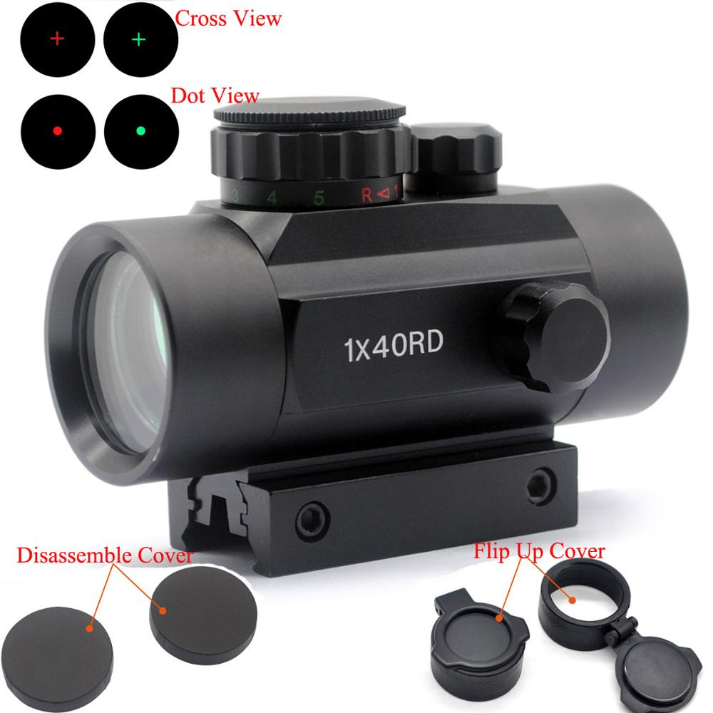 TriRock Tactical Holographic 1x40 Sight Scope Red Green Dot/Cross View Riflescope Hunting With 11&20 Mm Rail Mount