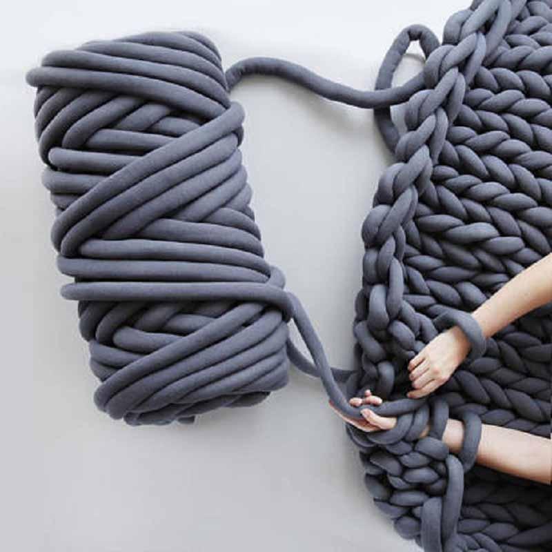 500g Super Thick Chunky Yarn Cotton Tube Yarn Merino Wool Alternative DIY Bulky Arm Knitting Blanket Hand Knitting Spin Yarn