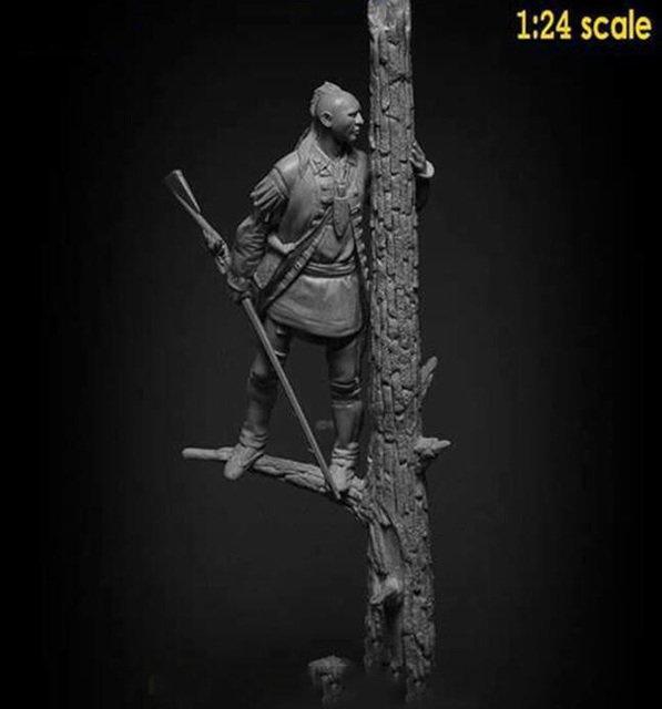 1/24 75mm ancient warrior stand with tree   Resin figure Model kits Miniature gk Unassembly Unpainted