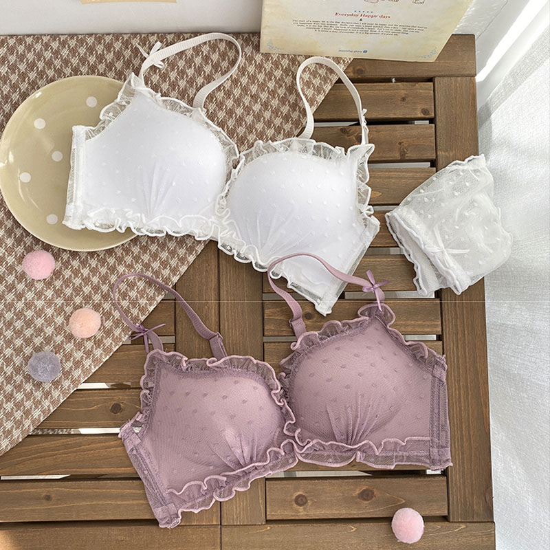 Roseheart Spring New Women Fashion Pink Pruple Lace Wireless Bralette Panties Push Up Bra Sets Underwear Sexy Lingerie Sets