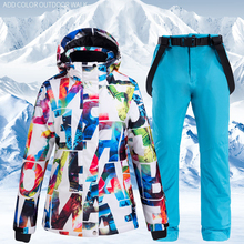 2019 Hot Sale Women Ski Suit Waterproof Pants+Jacket Set Thickened Warm Snowboard Jacket Fashion Winter Sports Snow Clothes