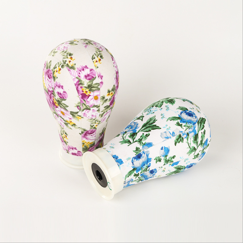 Print flower Canvas covered <font><b>block</b></font> mannequin wig stand head 22/23 inch average size used for wig making, <font><b>hat</b></font> stocking and display image