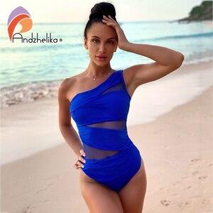 Image 2 - Andzhelika Một Mảnh Sexy 1 Vai Đầm Lệch Vai Lưới Miếng Dán Cường Lực Đồ Bơi Áo Tắm Monokini