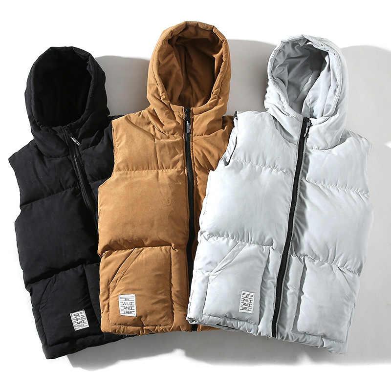 Hooded Winter Mouwloze Mannen Vest Jacket Preppy Herfst Hip Hop Mode Jassen Oversized Losse Streetwear Japanse Casual Jas