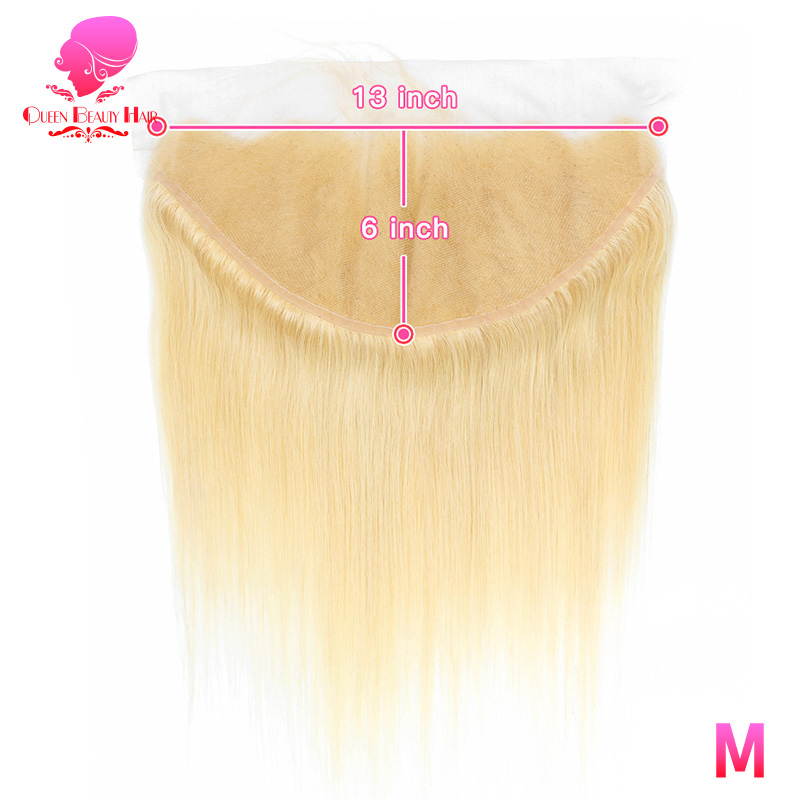 QUEEN 13x6 Frontal Lace Closure Bleached Knots 613 Blonde Brazilian Straight Hair Remy lace frontal 8 - 22 Inch Free Shipping