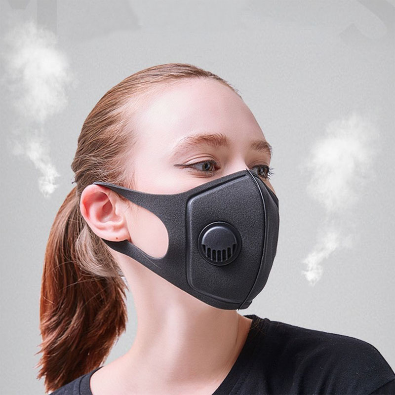 Biker Mask Black Anti Dust Mask PM2.5 Breathing Filter Valve Face Mouth Masks Reusable Cover Anti Fog Respirator Men Women