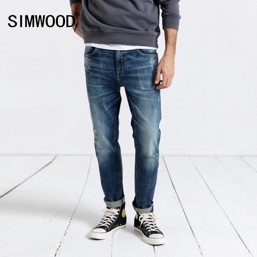 SIMWOOD 2020 Jeans Men Fashion Denim Pants Slim Fit Plus Size Trousers Brand Clothing Hole Streetwear Free Shipping 190019