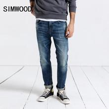 Simwood 2020 calças de brim dos homens da moda calças jeans fino ajuste plus size marca roupas buraco streetwear frete grátis 190019