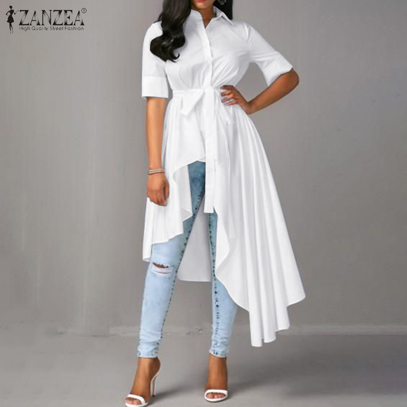 2020 Fashion Women Asymmetrical Blouse ZANZEA Summer Short Sleeve Long Shirt Vestido Elegant Lapel Neck Solid Buttons Blusas Top