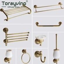 Torayvino, античная латунь, аксессуары для ванной комнаты, набор, туалетная бумага, туалетная щетка, вешалка для полотенец, настенный комбинированный комплект