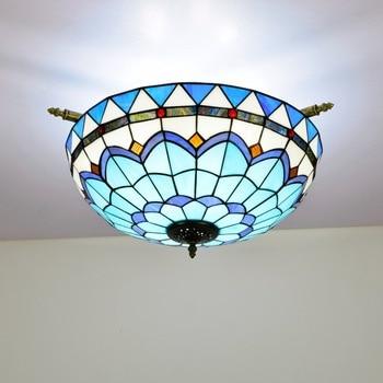 55cm Creative Mediterranean Tiffany Colored Glass Small Living Room Restaurant Bar Bedroom Art Semi-Ceiling Lamp