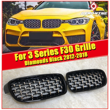 Diamonds style grille grill Set ABS gloss Black For BMW F30 3 series 318i 320i 325i 340i M Performance Front Kidney grills 12-18
