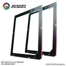 M/b io rgb backplate, placa de luz decorativa 5v sincronização argb, farol desktop atx placa-mãe luz-emitindo luz traseira