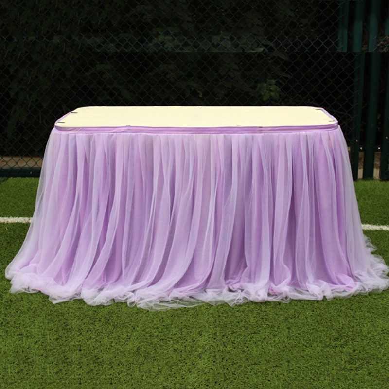 Tutu Tulle Tafel Rok Elastische Mesh Tulle Servies Tafelkleed Voor Bruiloft Tafel Decoratie Thuis Textiel Accessoires