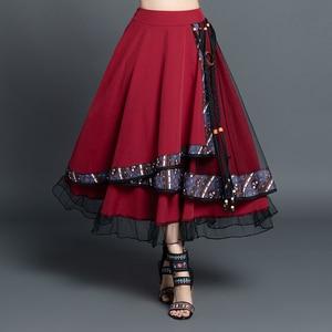 Image 1 - Faldas mujer moda 2020 saias do vintage das mulheres outono inverno méxico estilo étnico designer longo azul marinho assimétrico saia