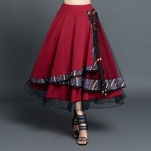 faldas mujer moda 2020 vintage skirts womens autumn winter Mexico style ethnic designer long navy blue asymmetric skirt