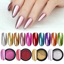 Зеркало для ногтей Блестящий Порошок металлический цвет УФ-гель для дизайна ногтей Полировка хромированные хлопья пигмент блестящая пыль украшения Маникюр