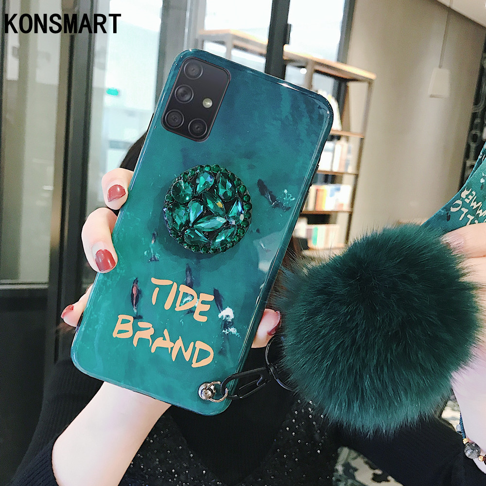 Konsmart New Case For Samsung Galaxy A91 A81 A71 A51 Emerald Live Wallpaper Lanyard Back Case For Samsung M60s M80s Stand Cover Fitted Cases Aliexpress