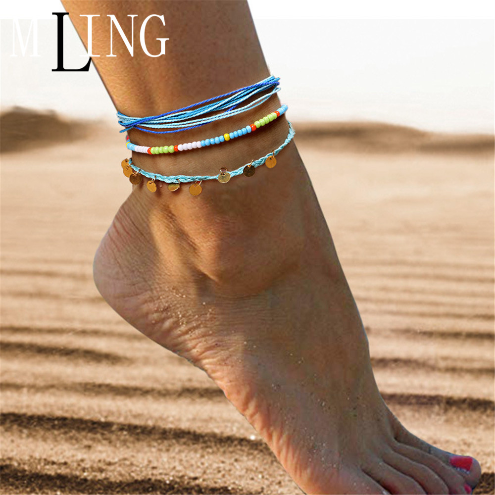 MLING Vintage Adjustable Weave Rope Chain Anklet Bohemian Colorful Beads Sequin Anklet For Women