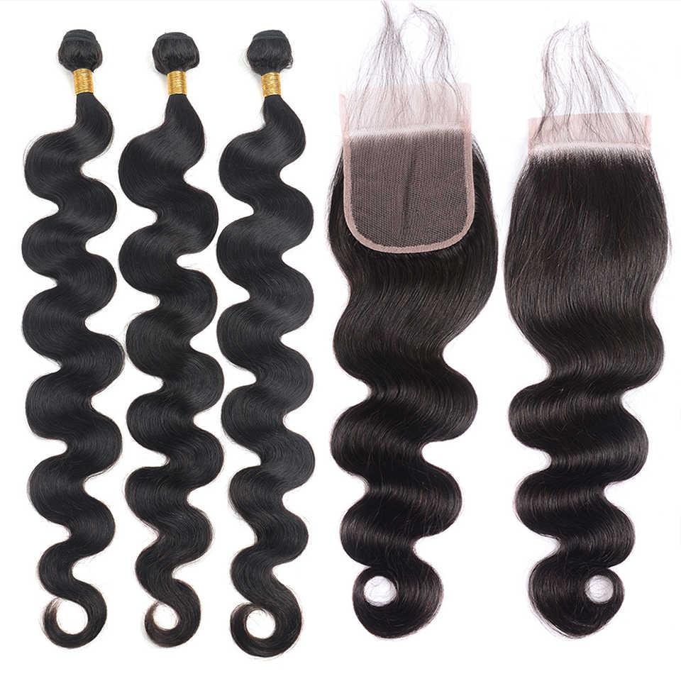 30 inç Demetleri Hint İnsan Saç Paketler Kapatma ile Vücut Demetleri ile Kapatma Remy Saç Örgü