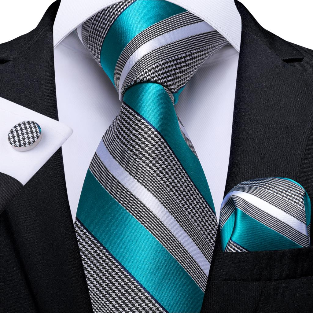 Gift Men Tie Teal Blue White Striped Silk Wedding Tie For Men DiBanGu Designer Hanky Cufflink Quality Men Tie Set Business 7339