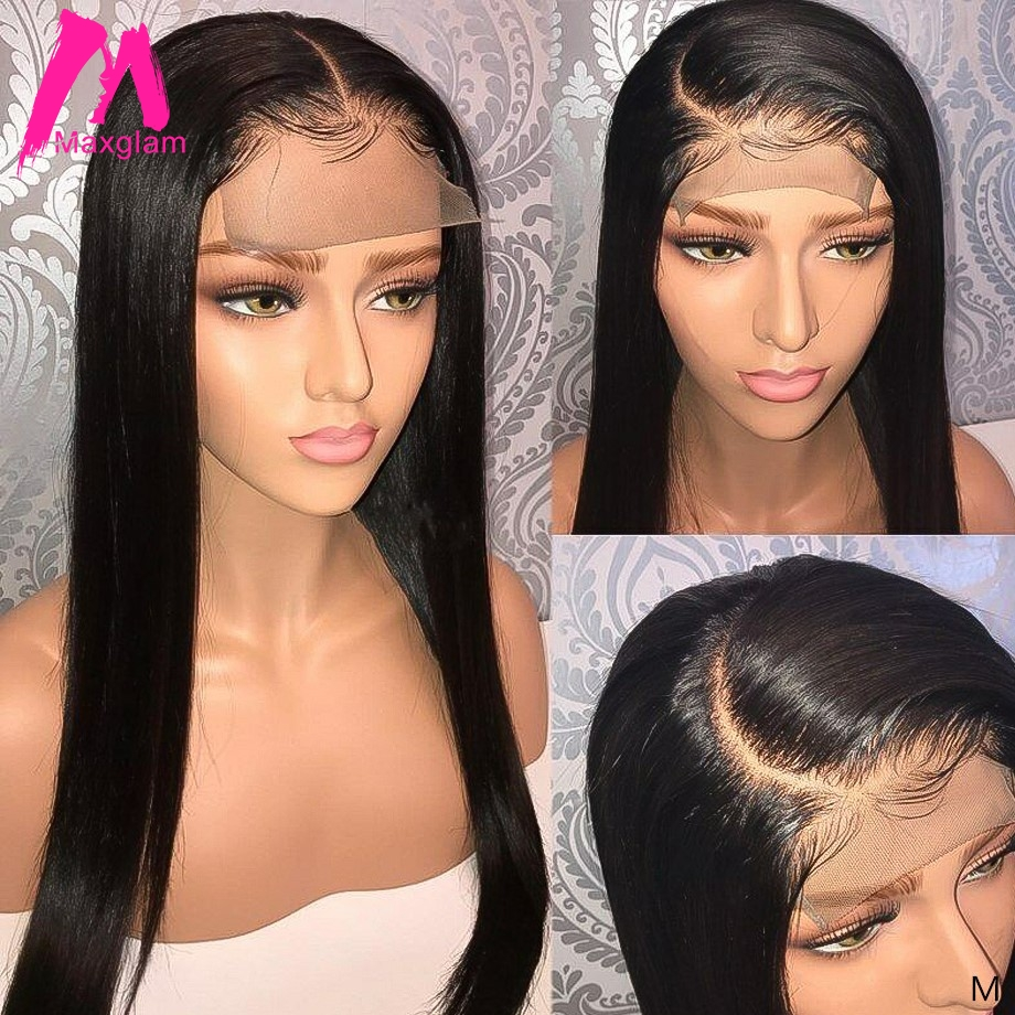 4x4 Lace Closure Wig Brazilian Human Hair Wigs Straight Natural Short Long Remy Hair Pre Plucked For Black Women Maxglam 130%