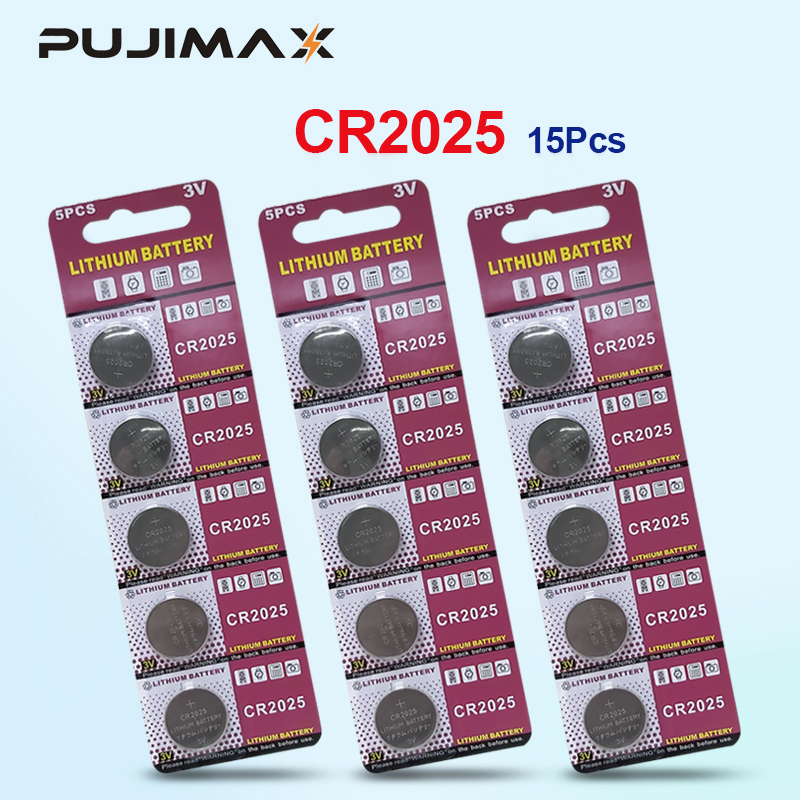 PUJIMAX 15pcs <font><b>CR2025</b></font> Lithium Button <font><b>Battery</b></font> DL2025 BR2025 KCR2025 Cell Coin <font><b>Batteries</b></font> 3V CR 2025 For Watch Electronic Toy Remote image