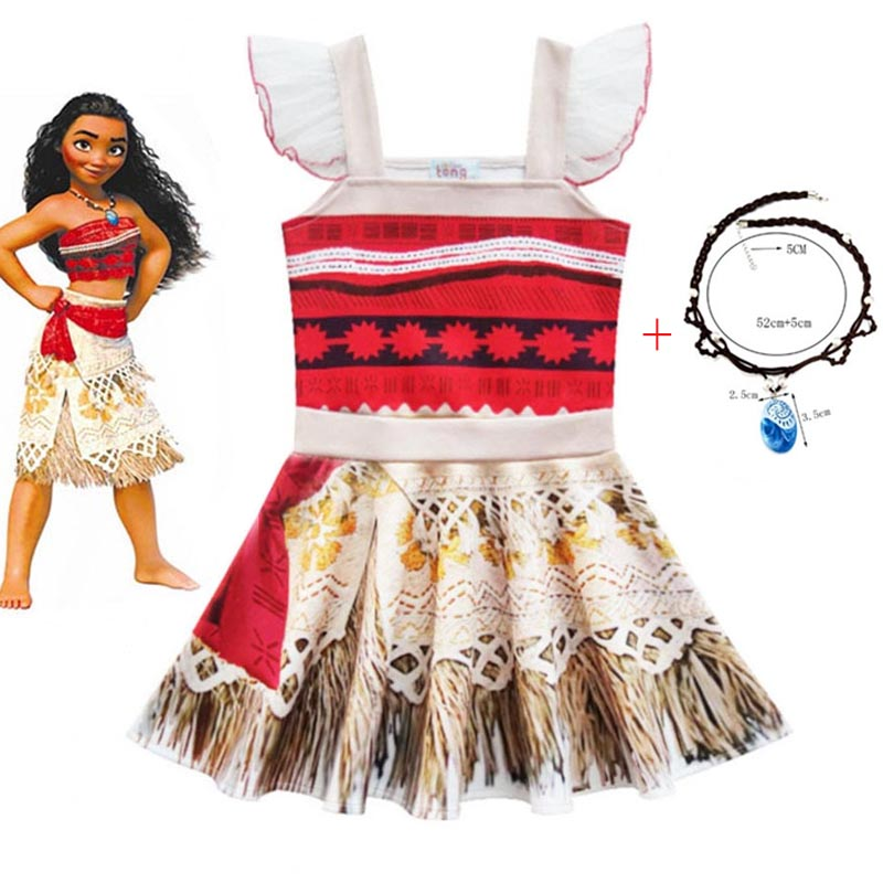 2020 Girls Ballet Moana Costume anime Cosplay for Kids Sleeveless Soft Sling Princess Dress with Necklace Birthday Party Clothes