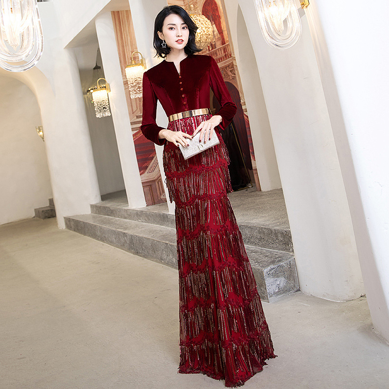 Burgundy Sequins Chinese Sexy Queen Oriental Party Female Cheongsam Stage Show Qipao Dress Elegant Celebrity Banquet Dresses
