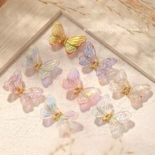 5 adet Aurora kelebek Nail Art süslemeleri AB renkli 3D uçan kelebekler zirkon tırnak süsler DIY UV manikür aksesuarları