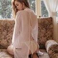 Schönheit Zurück Shirt Weiß Freund Wind Dame Hemd Sommer Sexy Dessous Nachtwäsche Transparent Schlafen Kleid Chiffon Bluse