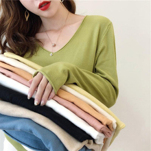 Winter Sweater Women Knitted v-neck Pullover Sweat