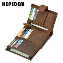 HEPIDEM RFID High Quality Crazy Horse Genuine Leather Slim Wallet 2020 New Front Pocket Money Dollar Bill Purse for Men 8129
