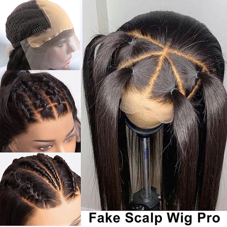 Luvin 250 Density 13x6 Straight 28 30 Inch Glueless Fake Scalp Lace Front Human Hair Wigs Pre Plucked Brazilian Frontal Wig