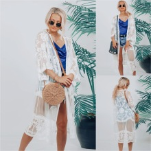 Women Beachwear Lace Blouse Summer Sundress Fashion Casual V-Neck Sun Protection Long Beach Blouses Bikini Cover-Up Swim Wear