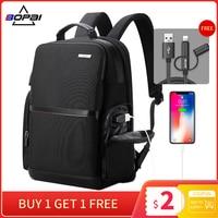 BOPAI 2019 Black Business Laptop Backpack USB Charging High Schoolbag Nylon School Backpack Water Repellent Back Pack Men zaino
