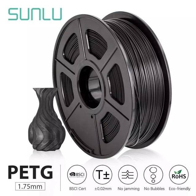 SUNLU PETG 3D 프린터 필라멘트 1.75mm PETG 빠른 배송 100% DIY 인쇄용 버블 허용 오차 + 0.02MM 밝기