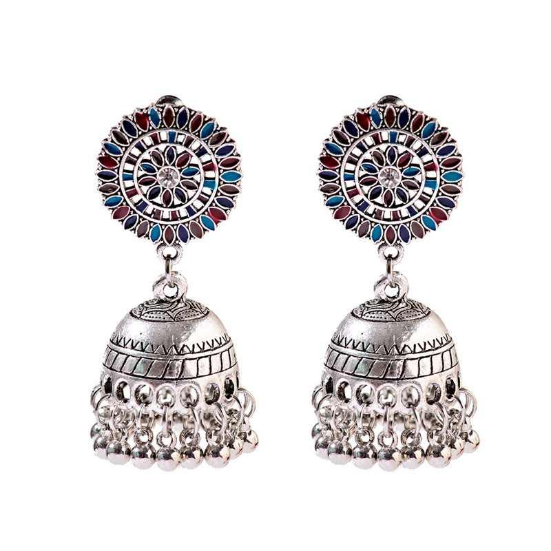 אתני הולו פרח תורכי Jhumka עגילים לנשים בציר הודי תכשיטי כסף פעמון ציצית משתלשל עגילים