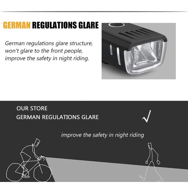 250 lúmen lanterna para bicicleta anti-reflexo inteligente luz usb recarregável mtb frente lâmpada ciclismo farol da bicicleta acessórios 3