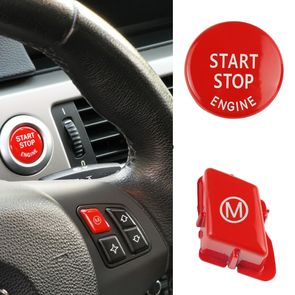 Car Steering Wheel M Model For BMW 3 Series E90 E92 E93 M3 2007-2013 Car Switch Accessories With START Stop Engine Button Red